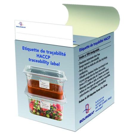 Etiquettes hydrosolubles HACCP grand modèle
