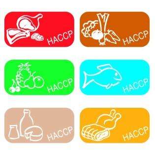 Planche de 30 étiquettes couleur HACCP